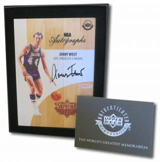 Jerry West Signed Autographed Game Floor 16 - 17 Supreme Hardcourt B Lakers Uda