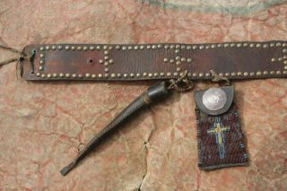 Antique Native American Tacked Northern Plains Belt Beaded Strike A Lite Bag Old