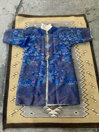 Rare Antique Chinese Winter Blue Dragon Robe Fine Dragons Qing Period