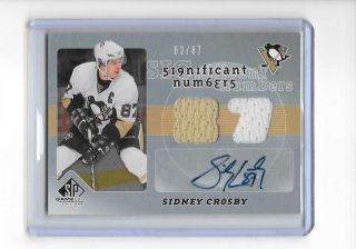 2008 - 09 Sp Game Sidney Crosby Significant Numbers Jersey Relic Auto 62/87
