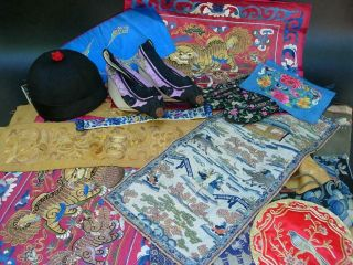Large Group Of Antique Chinese Embroidered Silk Panels,  Hat,  Shoes,  Purse
