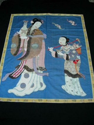 An Antique Chinese Embroidered Silk Panel W Immortal And Attendant