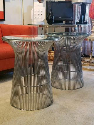 Warren Platner For Knoll Wire Glass Top Round Nickel Side 2 Tables