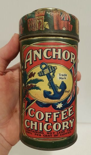 Antique Old Vintage Anchor Coffee & Chicory Tin G.  Wood & Son