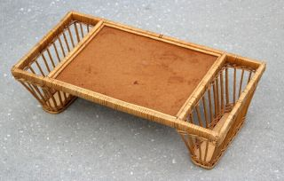 Vintage Bamboo Wicker Serving Tray Bed Breakfast Tray