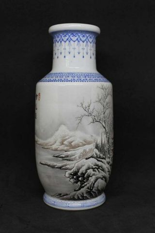 Chinese Republic Period Porcelain Vase With Snow Scene