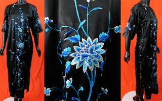 Antique Chinese Qipao Cheongsam Black Silk Peony Embroidered Banner Dress Vtg