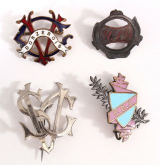 4 Rare Antique 19th Century Bicycle Club Pins,  Enameled And Silver,