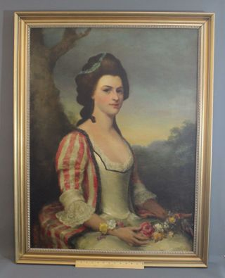 Large Antique American Victorian Portrait Oil Painting Of 18thc Woman W/ Flowers