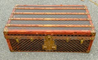 Antique French Damier Louis Vuitton Style Steamer Trunk W Tray