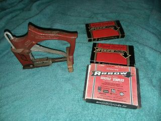 Vintage Red Devil Pd1 Diamond Point Stapler Gun Framing With Staples