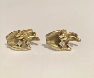 "Unique And Rare Vintage 14k Yellow Gold "" Roll The Dice "" Cufflinks - 22.  1 Grams"