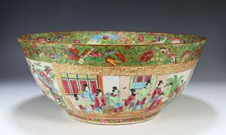 Large Antique Chinese Rose Mandarin Punch Bowl With Scenes Of Figures