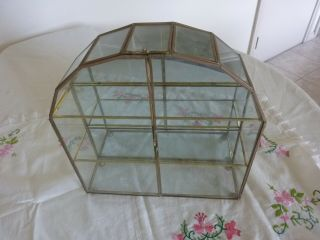 Vintage Brass And Glass Curio Display Cabinet With Mirror Back