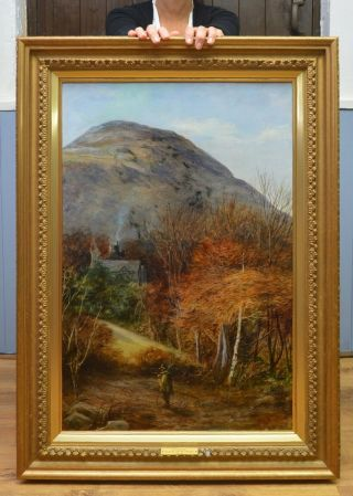 Large Antique 19th Century Oil Painting Of North Wales Autumn Landscape
