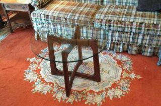 Vintage Mcm Modern Adrian Pearsall Glass Black Walnut Side End Table
