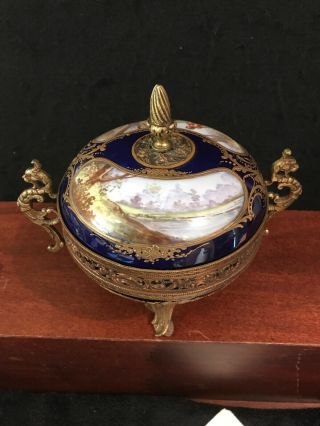 "Antique 17c French ""sevres"" Hand Painted Porcelain And Bronze Vase - O158"