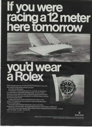 1967 Rolex Submariner Chronometer Watch Boat Racing Vintage Print Ad