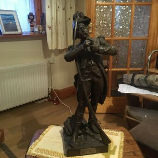 Bronze Figure Of Rifleman After E.  H.  Dumaige 26.  5 Inches High.