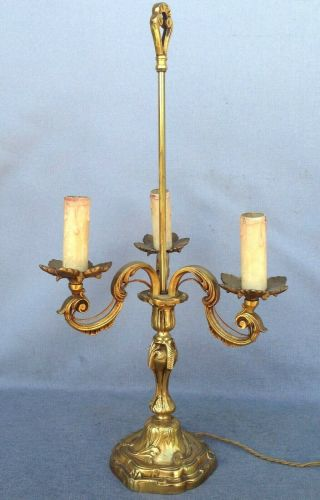 Big Antique French Lamp Made Of Bronze Early 1900