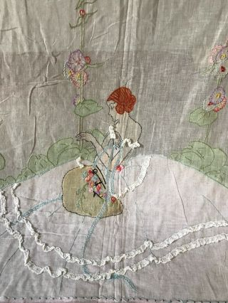 Vintage 1920s Embroidered Women With Flowers Bedspread