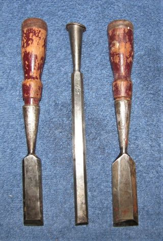 """Vintage Wood Chisels By Lakeside (1/2 """") ? (3/4 """") Pexto (15/16 """") - Made In Usa"""