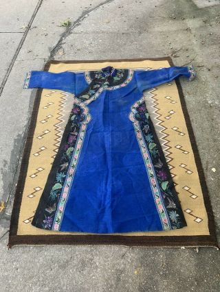 Fabulous Antique Chinese Blue Silk Informal Ladys Robe With Flower Qing Period