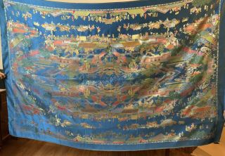 """Antique Chinese Silk Figurative Brocade Panel Wall Hanging Tapestry 55 """" X 83 """""""