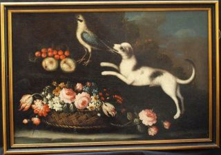 Large 17th Century Dog With Bird In Extensive Landscape Antique Oil Painting
