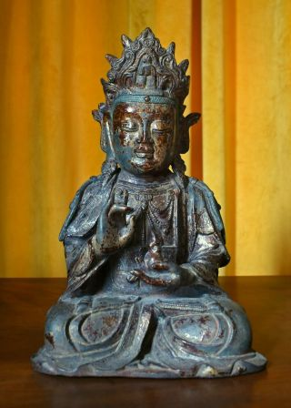 Ming Dynasty Style Chinese Lacquer Gilt Bronze Figure Of Bodhisattva Guanyin
