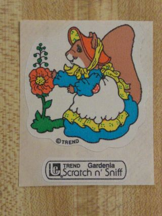 Vintage 80s Large Trend Squirrel Gardenia Scratch - And - Sniff Sticker
