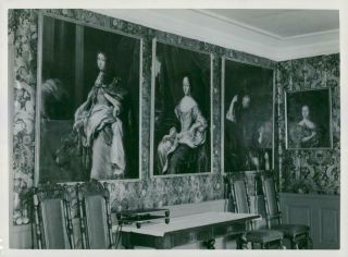 Vintage Photograph Of Sandemar.  The Dining Room With King Portraits