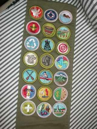 Vintage Bsa Boy Scouts Sash Merit Badges Patches Awards Swimming Archery 1960s