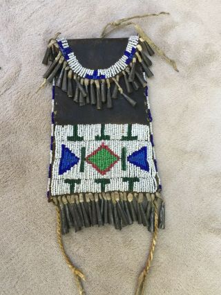 Antique Beaded Plains Indian Strike A Lite Bag Pouch Native American