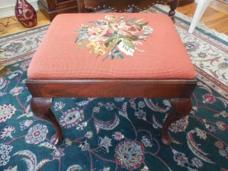 Vintage Mahogany Queen Ann Needlepoint Ottoman,  Bench,  Foot Stool