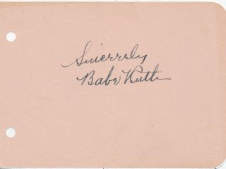 Babe Ruth Vintage Signed Autograph Album Page W/ Full Jsa Loa Circa 1930s Or 40s
