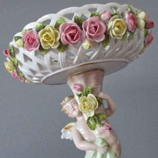 Antique Dresden Hp Porcelain Compote Winged Cherub Encrusted Roses Schierholz