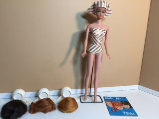 Vintage Barbie Fashion Queen Doll With Wigs Wig Stand Booklet Stand