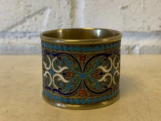 Antique Russian Silver Enamel Napkin Ring W/ Floral Decoration W/ Maker