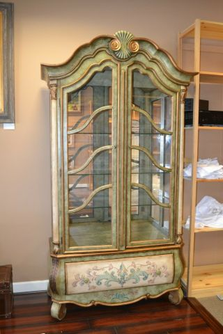 Wood And Glass Flower Display/cabinet With Light,  Shelves,  And Drawer