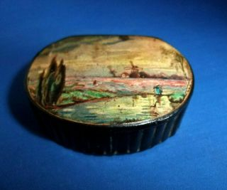 Antique Early 19thc Papier Mache Snuff Box With A Windmill And Lady With A Fish