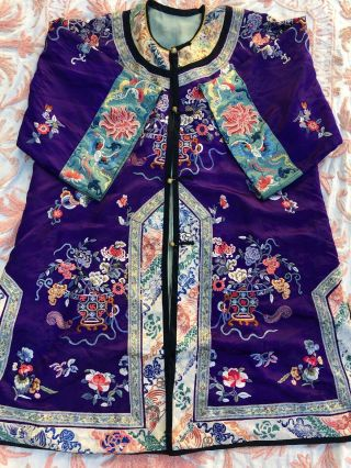 Antique Chinese Purple Silk Robe Forbidden Stitch Embroidery Whirling Log Floral