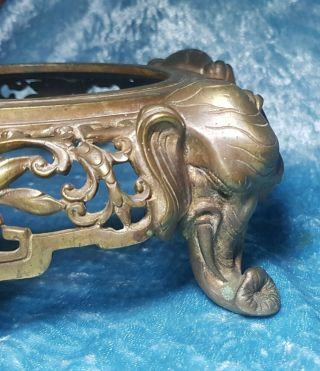 Large Antique Chinese Bronze Stand For Vase Elephant Detail 18/19th.  C.  Qing.  Nr