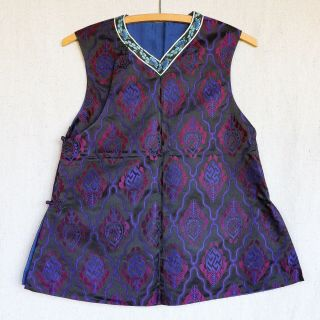 Antique 1920s Chinese Black Red Purple Brocade Silk Cheongsam Qipao Jacket Vest