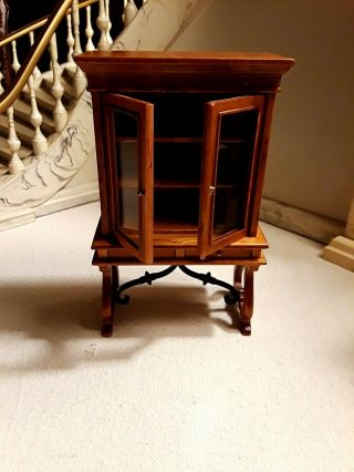 One Miniature Cabinet On Stand With 2 Drawers,  By J Baker Size 1:12 Scale