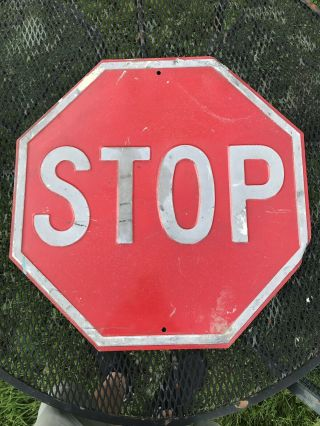 "Embossed Painted Steel Stop Traffic Sign 24""x24"" Raised Letters Vintage Antique"
