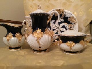 Meissen Tea Set/ Bowl Cobalt,  White An Gold