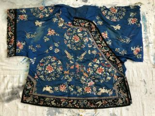 Antique Partial 19thc Chinese Embroidered Silk Robe Fine Floral Roundels Birds