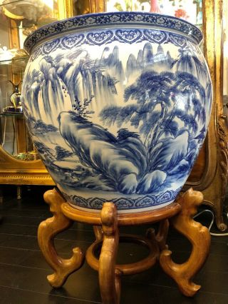 """Large Chinese Blue & White Porcelain Fish Bowls Diameter 21 1/2 """" With Wood Stand"""