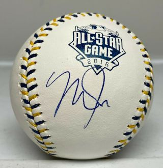 Mike Trout Signed 2016 All Star Game Baseball Autographed Mlb Hologram Angels